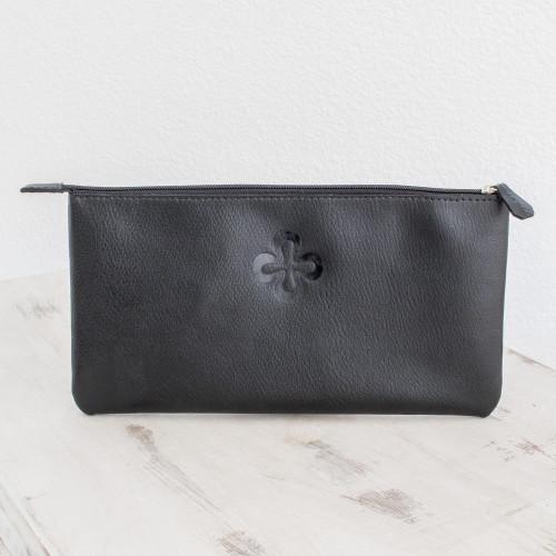 Handmade Black Leather Document Case from El Salvador 'Cross Elegance'