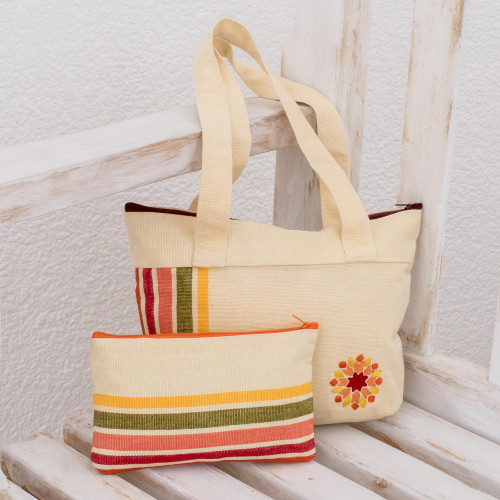 Cotton Shoulder and Cosmetic Bag from Guatemala Pair 'Floral Summer'