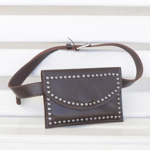 Handcrafted Leather Waist Bag in Espresso from Brazil 'Studded Espresso'