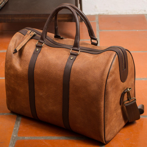 Burnt Sienna and Espresso Leather Travel Bag from Mexico 'Fashionable Traveler'