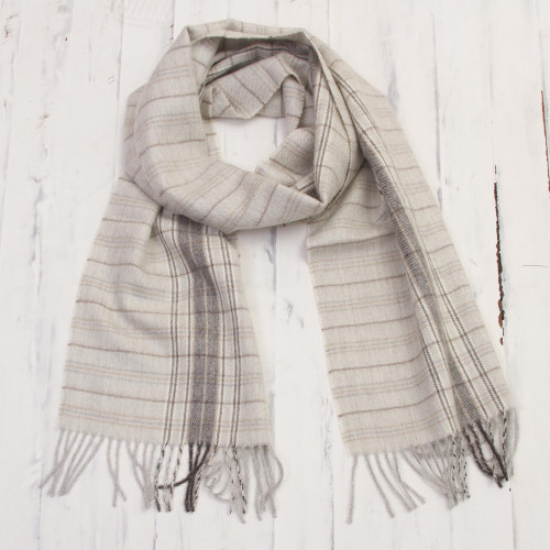 White and Grey 100 Baby Alpaca Scarf from Peru 'Andean Mountain Range'