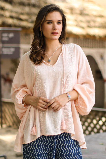 Embroidered Cotton Blend Tunic in Peach from India 'Peach Glory'