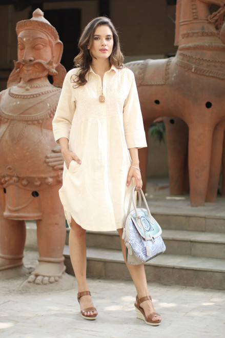 Embroidered Cotton and Linen Blend Shirt Dress 'Alabaster Bliss'