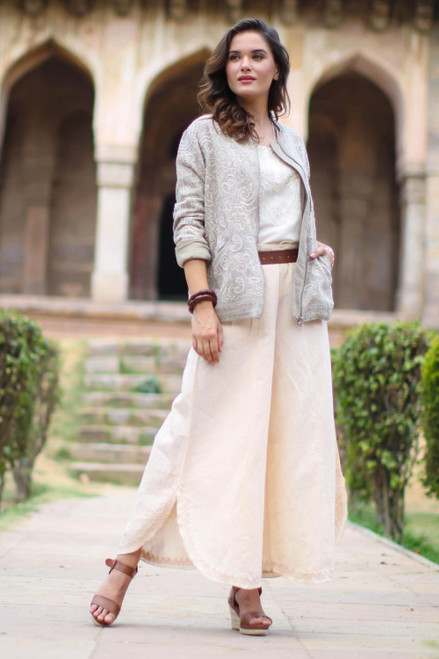 Wide Legged Cotton and Linen Blend Pants in Parchment 'Lucknow Dreams'