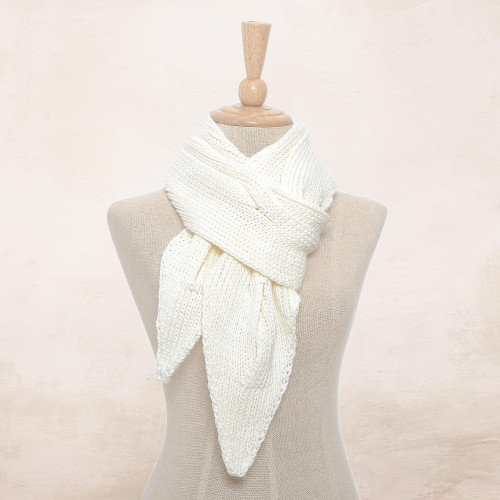 Knit Cotton Wrap Scarf in Eggshell from Thailand 'Ascot Charm in Eggshell'