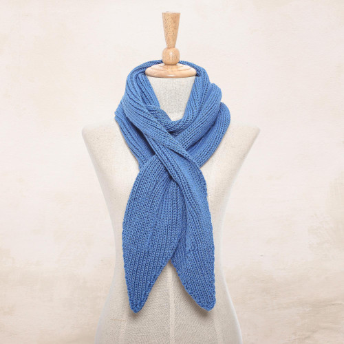Knit Cotton Wrap Scarf in Iris from Thailand 'Ascot Charm in Iris'