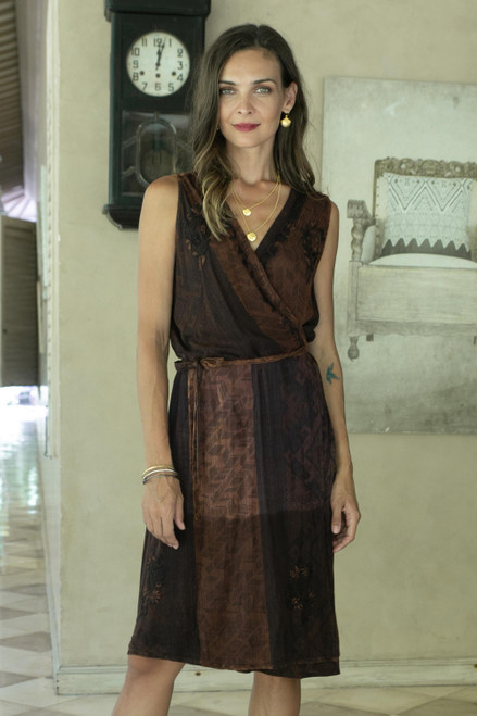Russet and Graphite A-Line Wrap Dress 'Russet Fusion'