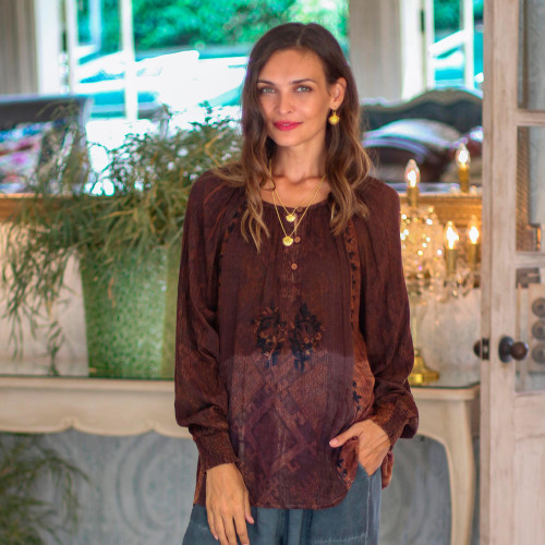 Embroidered Russet ad Midnight Peasant Blouse 'Russet Fusion'
