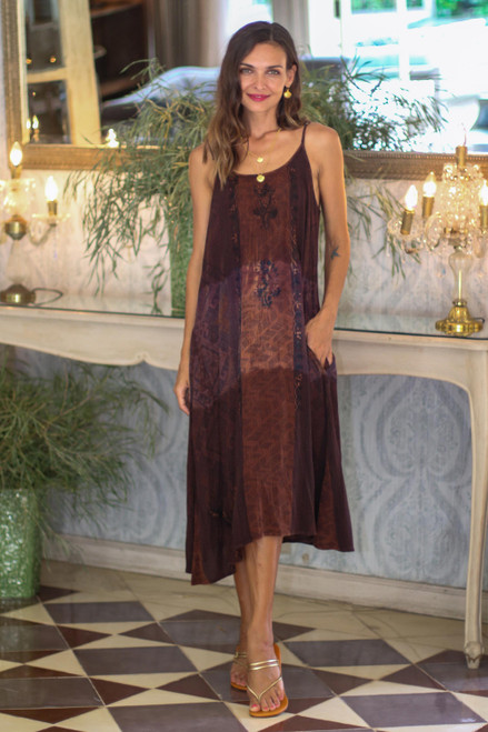Strappy Rayon Tie-Dyed Dress in Russet and Midnight 'Russet Fusion'