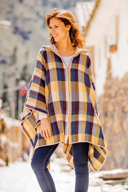 Check Pattern Alpaca Blend Poncho Sweater from Peru 'Cuzco in the Morning'