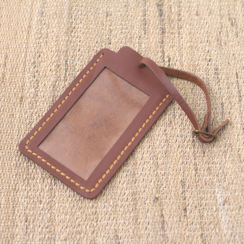 Brown Leather Luggage Tag in Black Crafted in Java 'Identity in Brown'