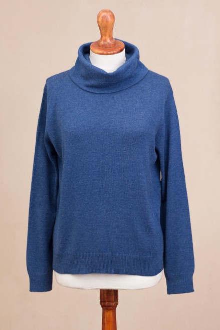 Knit Cotton Blend Pullover in Solid Royal Blue from Peru 'Royal Blue Versatility'