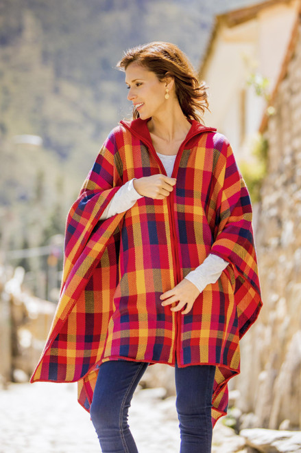 Colorful Alpaca Blend Poncho from Peru 'Afternoon Cuzco'