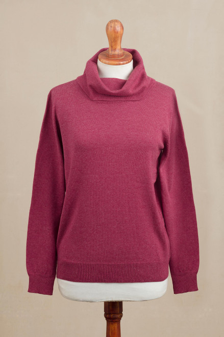 Knit Cotton Blend Pullover in Solid Cerise from Peru 'Cerise Versatility'