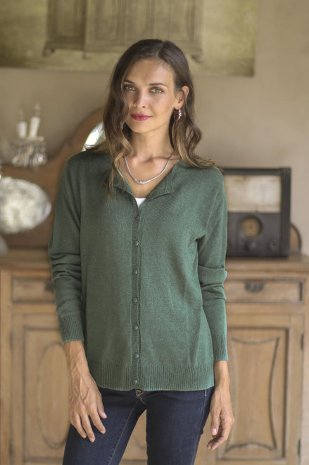 Cotton Blend Cardigan in Viridian from Peru 'Simple Style in Viridian'