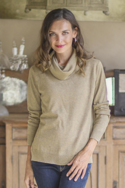 Cotton Blend Pullover in Taupe from Peru 'Taupe Versatility'