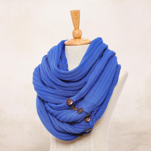 Knit Cotton Convertible Scarf in Lapis from Thailand 'Dreamscape in Lapis'