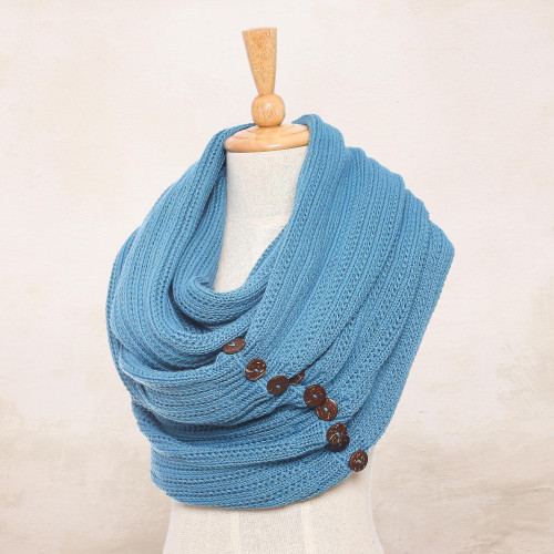 Knit Cotton Convertible Scarf in Teal from Thailand 'Dreamscape in Teal'