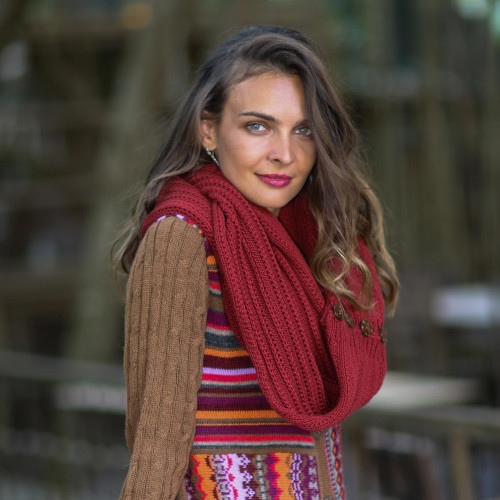 Knit Cotton Convertible Scarf in Cherry from Thailand 'Dreamscape in Cherry'