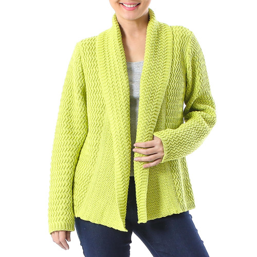 Knit Cotton Cardigan in Chartreuse from Thailand 'Zigzag Knit in Chartreuse'