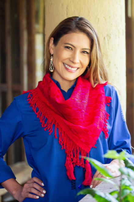 Cerise and Claret Cotton Wrap Scarf Crafted in Mexico 'Passionate Afternoon'