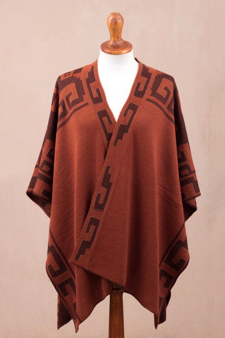 Russet and Black Alpaca Blend Ruana from Peru 'Inca Afternoon in Russet'