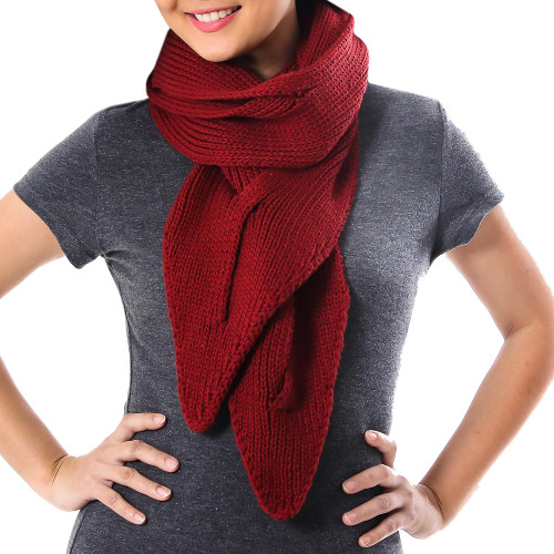 Knit Cotton Wrap Scarf in Claret from Thailand 'Ascot Charm in Claret'