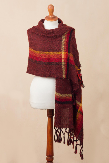 Handwoven Alpaca Blend Shawl in Burgundy from Peru 'Burgundy Elegance'