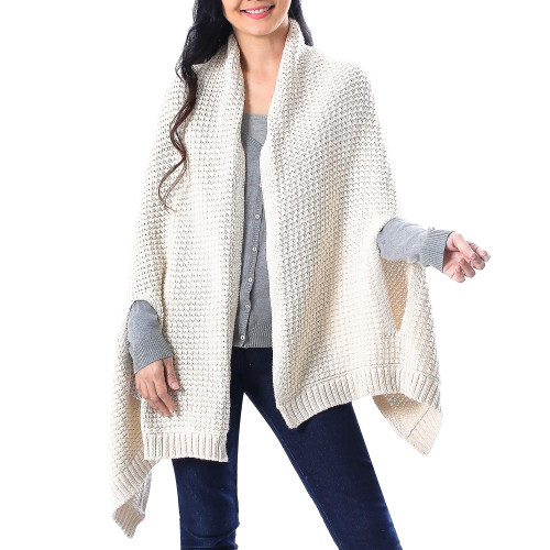 Patterned Knit Cotton Shawl in Eggshell from Thailand 'Chic Warmth in Eggshell'