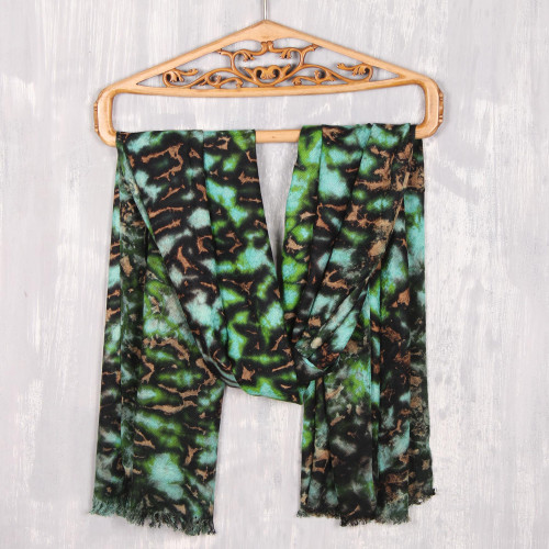 Green and Caramel Viscose Shawl Crafted in India 'Blissful Fusion in Green'