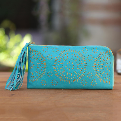 Circle Pattern Leather Clutch in Tosca from Bali 'Borobudur Stars in Turquoise'