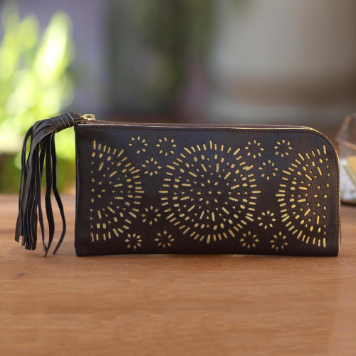Circle Pattern Leather Clutch in Espresso from Bali 'Borobudur Stars in Coffee'