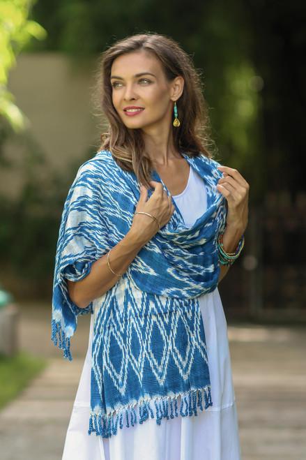 Handwoven Royal Blue Shibori Rayon Shawl from Guatemala 'Royal Blue Silhouettes'