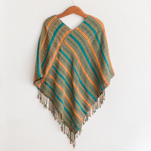 Handwoven Striped Cotton Poncho from Guatemala 'Beach Stripes'