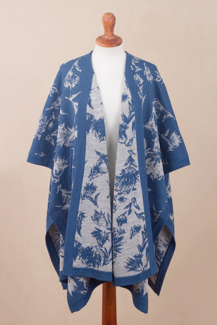 Reversible Cadet Blue and Oyster Leafy Alpaca Blend Ruana 'Leaves of Autumn in Cadet Blue'
