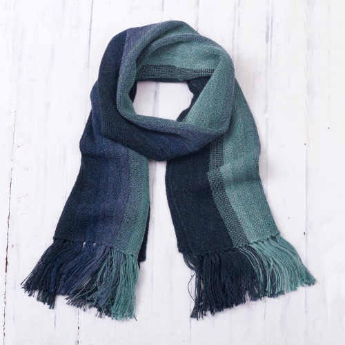 Shades of Blue and Green Striped 100 Alpaca Knit Scarf 'Ocean Stripes'