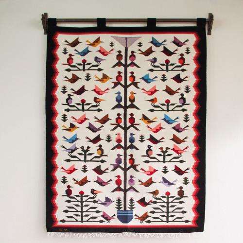 Fair Trade Peruvian Animal Themed Tapestry Wall Hanging 'Hummingbird'