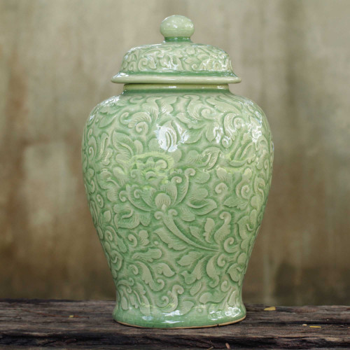 Fair Trade Celadon Ceramic Vase 'Botanical Dream'