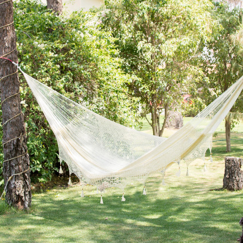 Solid Rope Hammock with Tassels Triple 'Caribbean Shores'
