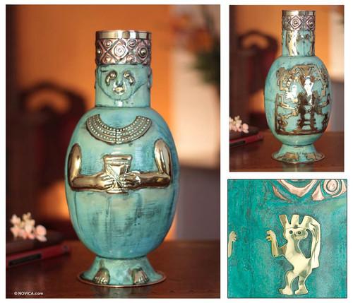 Copper and bronze vase 'Chancay Effigy'