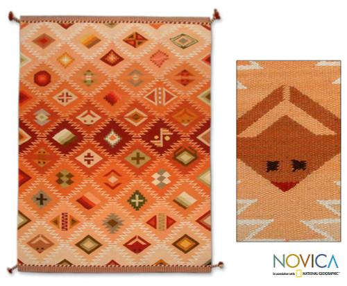 Hand Loomed Geometric Wool Area Rug 6x8.5 'Many Masks'