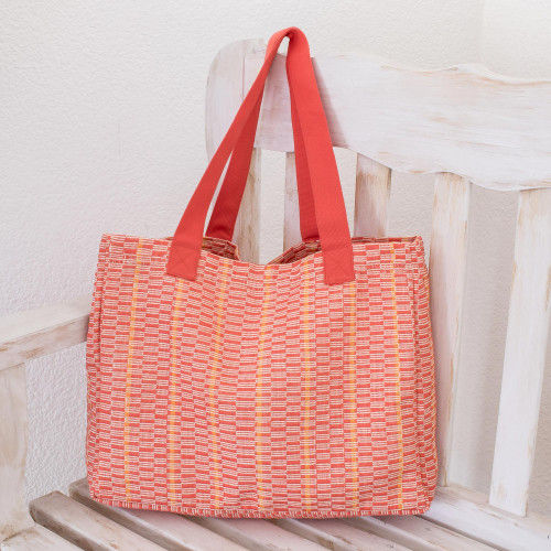 Cotton Patterned Tote Handbag from Central America 'Salmon Honeycomb'