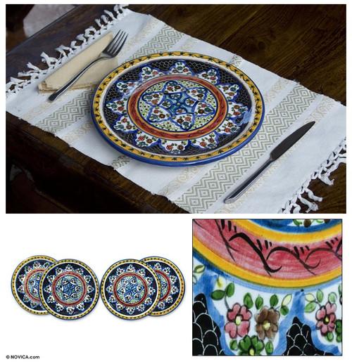 Hand Made Set of 4 Ceramic Dinner Plates 'Floral Star'