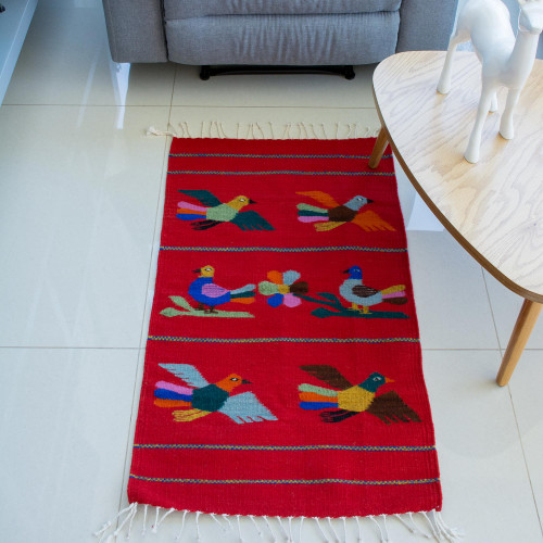 Hand Made Wool Bird Theme Area Rug 2x3.5 'Birds of Mexico'