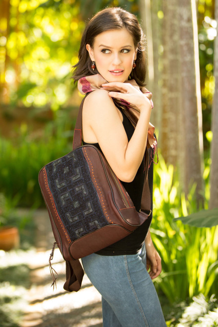 Leather and cotton backpack bag 'Hmong Paths'