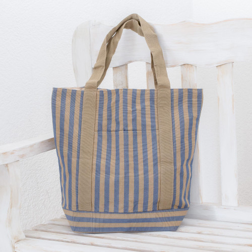 Cotton tote shoulder bag 'Comalapa Parallels'