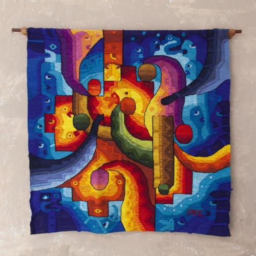 Inca Theme Handwoven Alpaca Blend Tapestry from Peru 'Chacana Rituals'