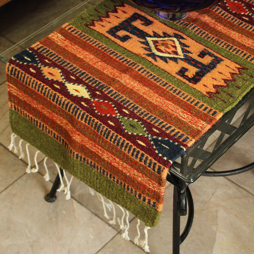 Artisan Crafted Geometric Wool Table Runner 'Sierra Life'