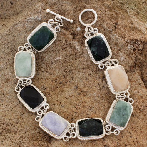 Collectible Sterling Silver Jade and Quartz Link Bracelet 'Maya Rainbow'