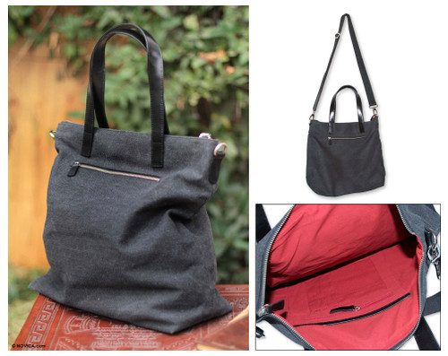 Cotton and Leather Accent Shoulder Bag from Peru 'Journey of Black'
